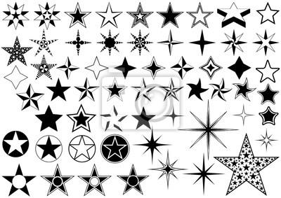 Bild Vektor-Sammlung von Star auf weißen Hintergrund isoliert - Black Illustration