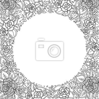 Bild Vektor schwarz und weiß Blumenmuster der Spiralen, wirbelt, doodles