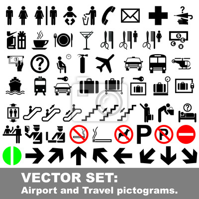 Vektor-Set: Flughafen und Travel Piktogramme