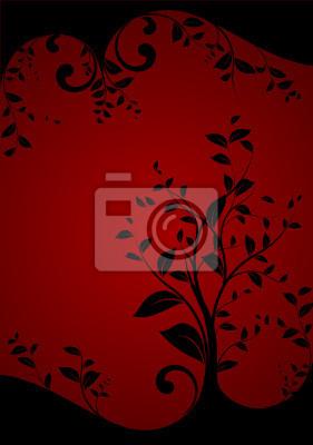 Bild Vektor-Set - schwarz floral Design auf einem roten Hintergrund