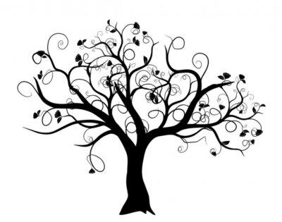 Bild Vektor-Set - Vektor Schwarz-Baum auf weißem Hintergrund