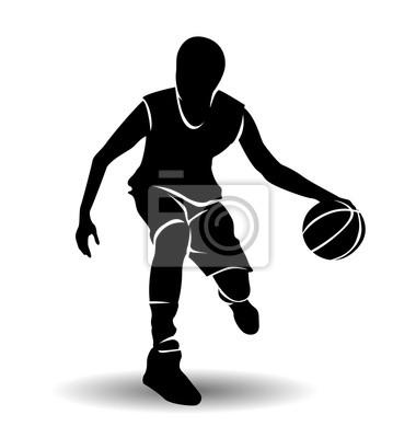 Vektor Silhouette von Basketball-Spieler mit Ball
