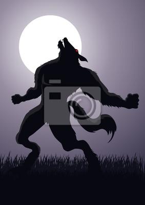 Vektor von einem Werwolf bei Vollmond