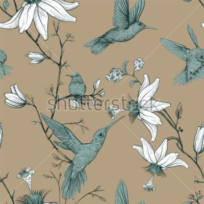 Bild Vektorskizzenmuster mit Vögeln und Blumen. Antikes nahtloses Muster mit gezogenen Blumen. Blumenmuster in der Provence. Design für Web, Geschenkpapier, Cover, Textil, Stoff, Tapete