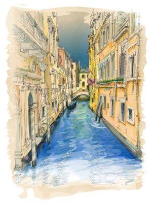 Bild Venice - water canal, old buildings & gondola away