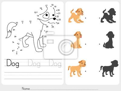 Verbinden sie punkte und match hund mit schatten - arbeitsblatt ...
