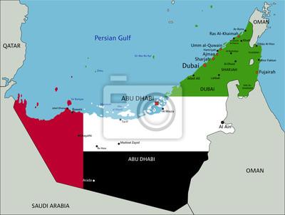 Vereinigte Arabische Emirate Sehr Detaillierte Politische Karte
