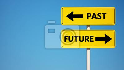 Vergangenheit und Zukunft Schild mit Clipping-Pfad