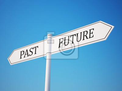 Vergangenheit und Zukunft Wegweiser mit Clipping-Pfad