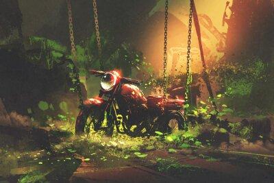 Bild Verlassene rostige Motorrad in bewachsener Vegetation, digitaler Kunststil, Illustration Malerei