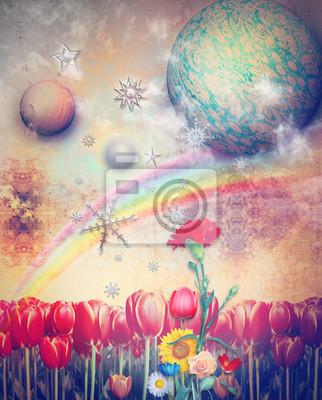 Verlorene Paradies Wirh Regenbogen, Sterne und Schneeflocken