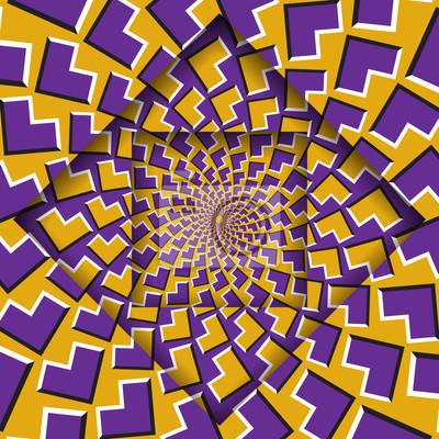 Verschieben von Ebenen mit einem kreisförmigen Muster Hintergrund der optischen Täuschung.