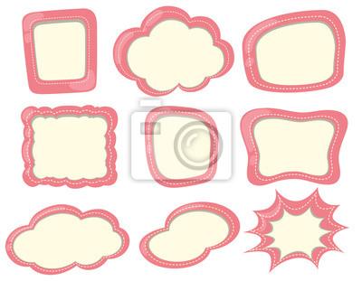 Verschiedene formen von etiketten in rosa leinwandbilder • bilder ...