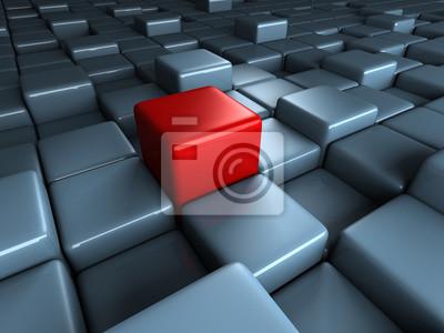 Bild Verschiedene rote Würfel hervorragend auf blauen Blöcken Hintergrund