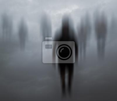 Bild Verschwommene geheimnisvolle Menschen zu Fuß