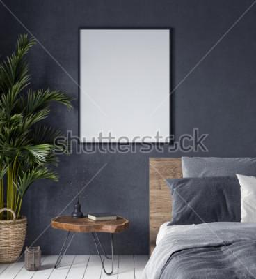 Bild Verspotten Sie herauf Plakat im Schlafzimmerinnenraum, ethnische Art, 3d übertragen
