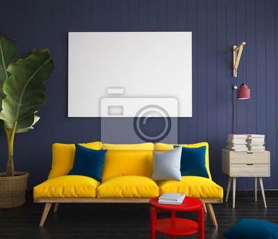 Bild Verspotten Sie Plakat im Hippie-Innenraum mit gelbem Sofa. 3D übertragen