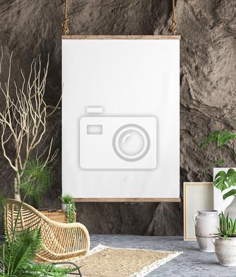 Bild Verspotten Sie Plakatrahmen im Innenhintergrund, 3D übertragen