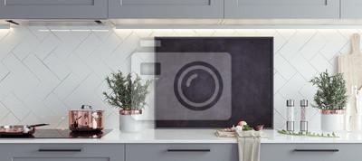 Bild Verspotten Sie Plakatrahmen im Kücheninnenraum, skandinavische Art, panoramischer Hintergrund, 3d übertragen