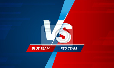 Bild Versus screen. Vs battle headline, conflict duel between Red and Blue teams. Confrontation fight competition vector background template