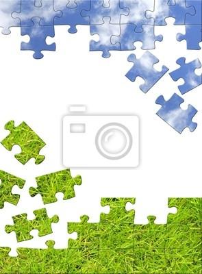Vertikale Hintergrund mit 3D-Puzzles. Objekt über weiße