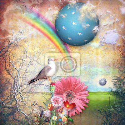 Verzauberte Land mit Sternenhimmel und Regenbogen