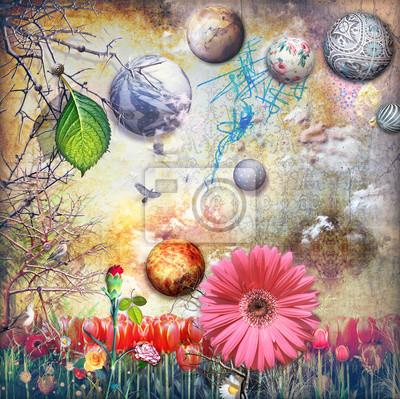 Verzauberte Land mit Tulpen Feld und bunte Blumen