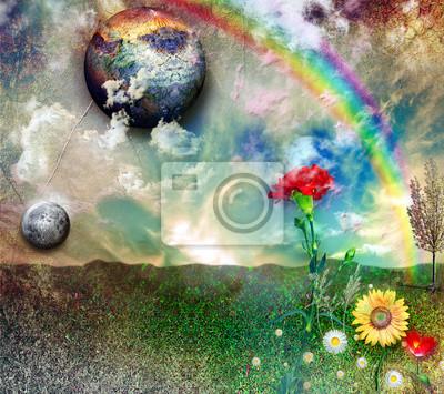 Verzauberte Landschaft mit Regenbogen