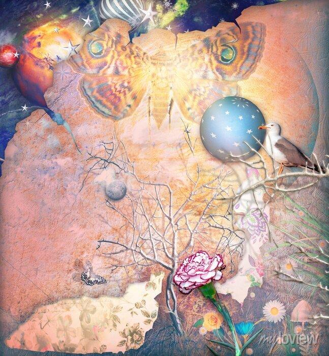 Bild Verzauberte Landschaft mit verzaubertem Baum, Nelke und Schmetterling