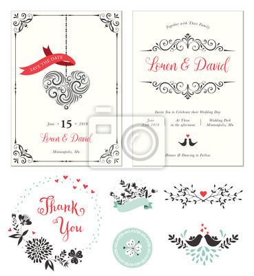 Verziert Hochzeitskarten Mit Typografischem Design Strudel Herzform