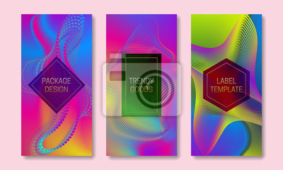 Vibrant packaging design with divergent point elements. Set of colorful labels templates. Futuristic backgrounds with frames for text.