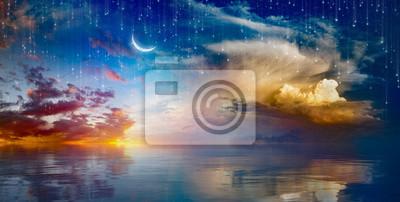 Bild Vibrant surreal background - crescent moon rising above serene sea