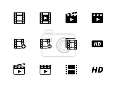 Video-Icons auf weißem Hintergrund.