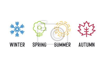 Bild Vier Jahreszeiten Icon-Set. 4 Vektorgrafikelementillustrationen, die Winter, Frühling, Sommer, Herbst darstellen. Schneeflocke, Blume, Sonne und Ahornblatt