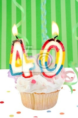 vierzigsten Geburtstag Cupcake mit weißem Zuckerguss
