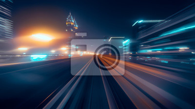 Bild View from first railway carriage. Speed motion blur metro abstract background at night