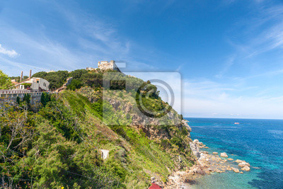 View of the bay and fortress on a rock, Tuscany, Italy