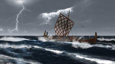 Viking Langschiff in einem atlantischen Sturm