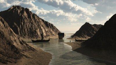 Viking Longships in isländischen Inlet