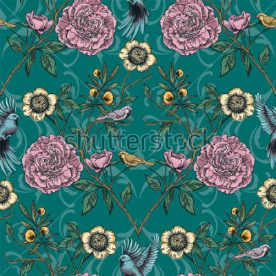Bild Viktorianischer Garten Nahtlose Blümchenmuster Vektor-Illustration