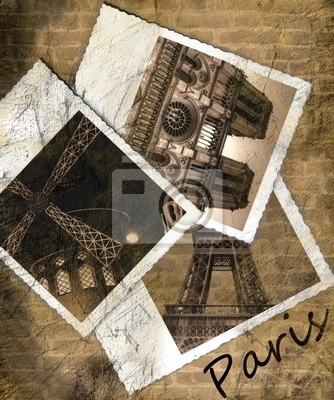 Vintage Aussicht auf Paris auf dem Grunge hintergrund