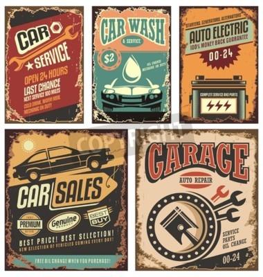Bild Vintage Autoservice-Metallschilder und -plakate