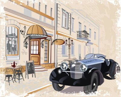 Bild Vintage background with a retro car and musicians, old town views.