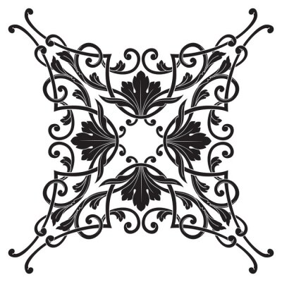 Bild Vintage barocke Rahmengravurrolleverzierung