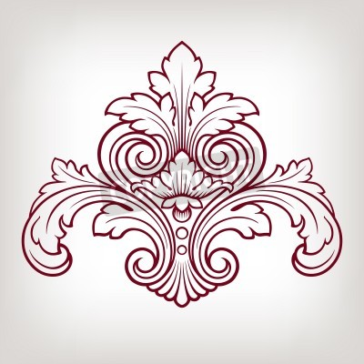 Bild vintage Barocker Damast Designrahmen Musterelement Gravur Retro-Stil
