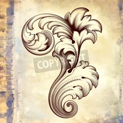 Bild  vintage baroque engraving floral scroll filigree design frame border acanthus pattern element at retro grunge background