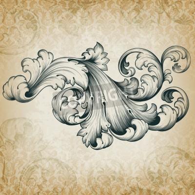 Bild vintage baroque engraving floral scroll filigree design frame border acanthus pattern element at retro grunge damask background