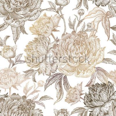 Bild Vintage Blumen Pfingstrosen, Zweige, Blätter. Drucken Sie Goldfolie auf einem weißen Hintergrund. Nahtloses Muster. Illustration für Stoffe, Handyhülle, Papier, Geschenkverpackungen, Textilien, Interi