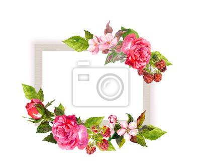 Vintage Blumenkarte Fur Hochzeit Blumen Rosen Beeren