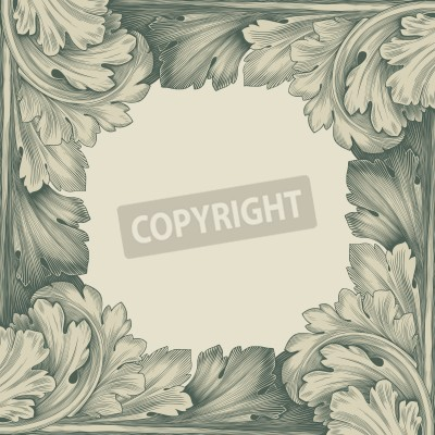 Bild vintage border frame engraving with retro ornament pattern in antique rococo style decorative design